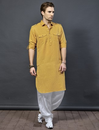 Orange color pathani suit for festive wear