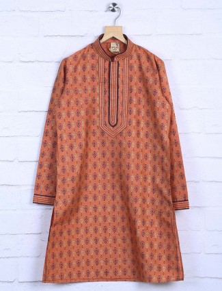 Orange color printed cotton kurta suit