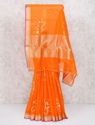 Orange color pure silk zari saree