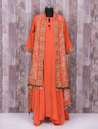 Orange color silk jacket style gown style dress for festive function