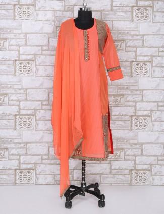 Orange color silk salwar suit for festive