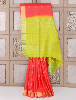 Orange color wedding function silk saree