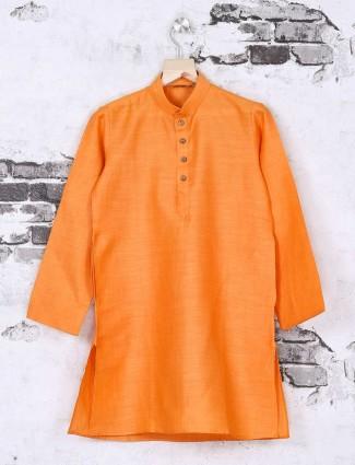 Orange cotton silk wedding kurta suit