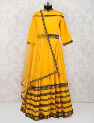 Orange hue cotton fabric festive floor length anarkali salwar suit