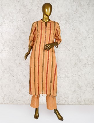 Orange hue cotton fabric festive salwar suit