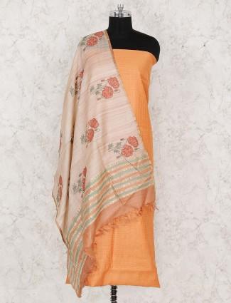 Orange hue cotton punjabi unstitched dress material