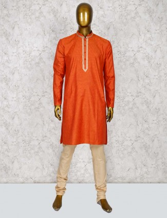 Orange hue cotton silk fabric kurta suit