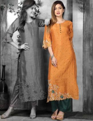 Orange hue cotton silk kurti