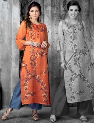 Orange hue cotton silk kurti for festive function