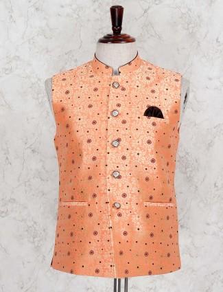 Orange hue printed terry rayon waistcoat