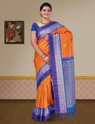 Orange hue pure silk kanjivaram saree