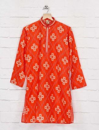 Orange hue wedding function kurta suit