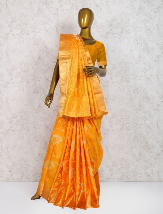 Orange hue wedding saree in pure silk