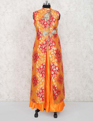 Orange hued long designer wedding lehenga cum suit