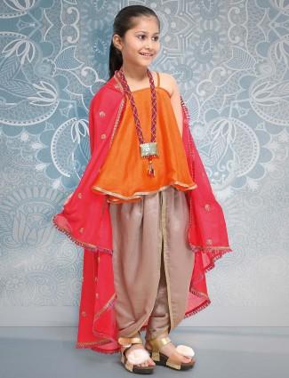 Orange hued punjabi designer dhoti suit