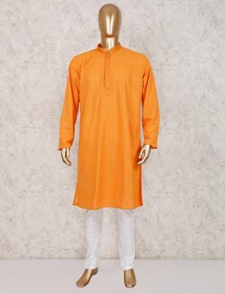 Orange lucknowi cotton kurta suit