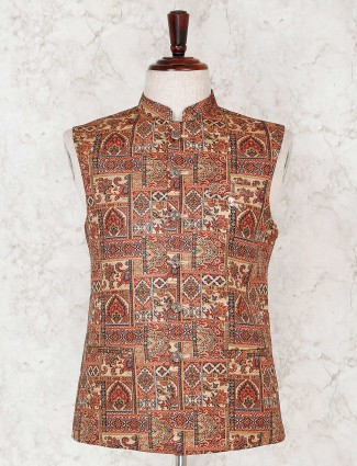 Orange party wear printed waistcoat