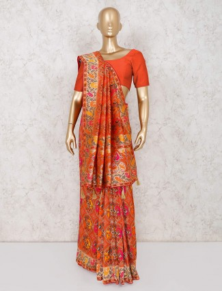 Orange patola silk saree design