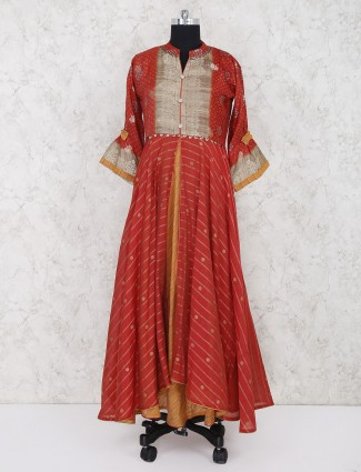 Orange printed cotton fabric salwar suit