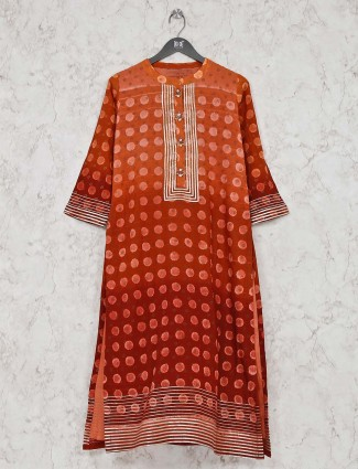 Orange printed cotton round neck kurti