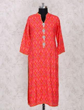 Orange printed kurti for festive wear