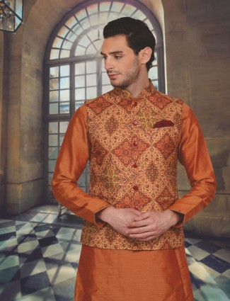 Orange raw silk festive wear waistcoat set