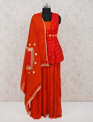 Orange red peplum style designer cotton salwar suit