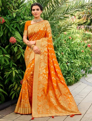 Orange saree for wedding in banarasi silk