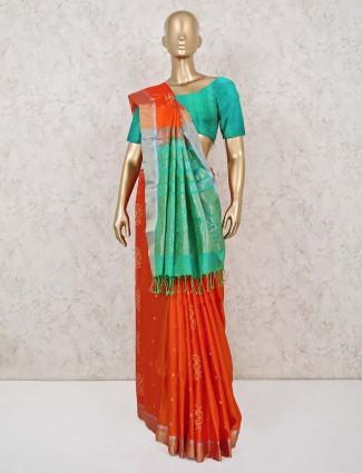 Orange saree with green palla in south silk