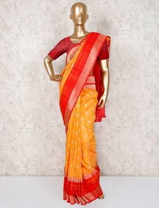 Orange semi silk wedding wear saree