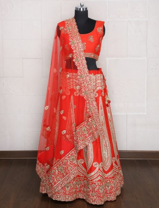 Orange silk designer bridal wear lehenga choli