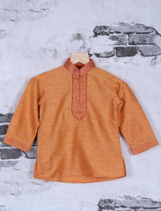Orange silk festive kurta suit