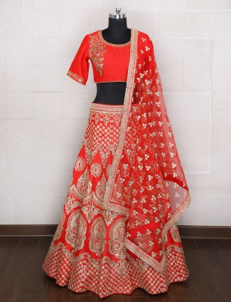 Orange silk wedding wear unsttiched lehenga choli