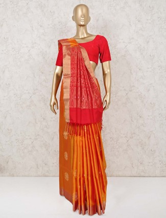 Orange south silk saree with red palla