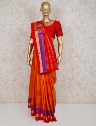 Orange south silk thread zari weaved saree