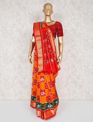 Orange thread zari weaving patola silk saree
