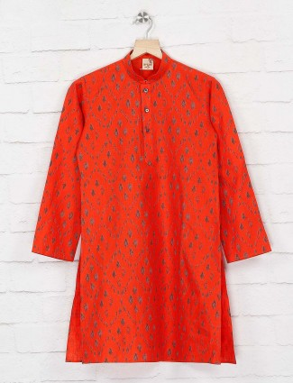Orange wedding wear printed kurta suit