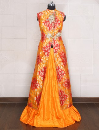 Orange yellow silk indo western