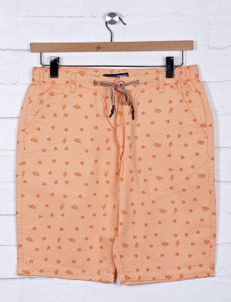 Origin printed pattern peach cotton shorts