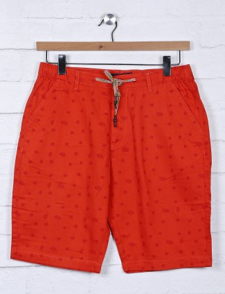 Origin printed pattern red slim fit shorts