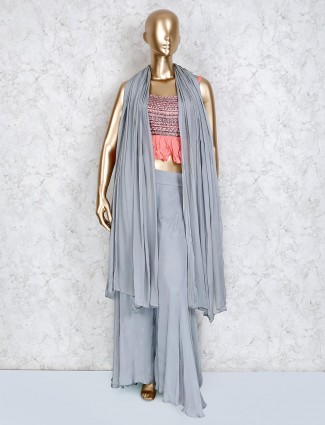 Palazzo suit in grey georgette fabric