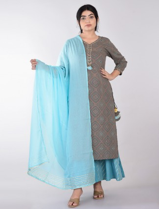 Palazzo suit in grey printed cotton