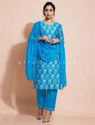 Pant style blue  salwar suit cotton for festivals