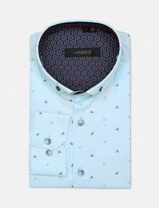 Paribito sky blue cotton shirt for mens