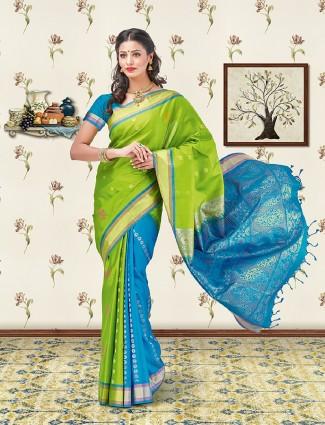 Parrot green and aqua soft silk saree