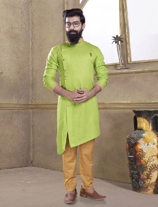 Parrot green color kurta suit
