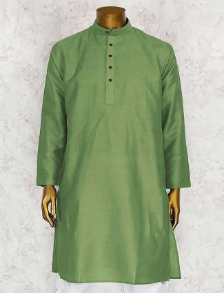Parrot green cotton party kurta suit