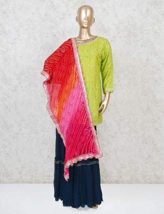 Parrot green cotton silk punjabi sharara suit