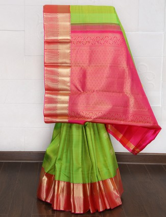 Parrot green kanjivaram silk fabric saree