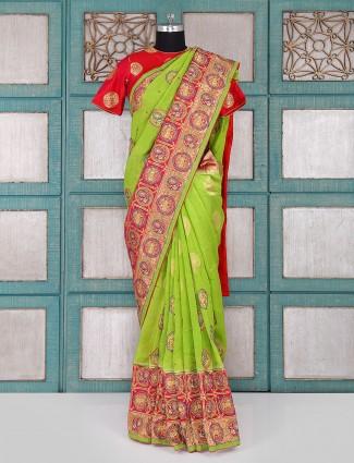 Parrot green wedding wear silk saree